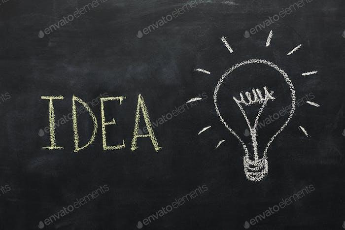 Lightbulb drawn with chalk on blackboard