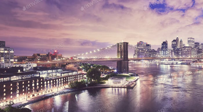 Dumbo and the Brooklyn Bridge at night, NYC.