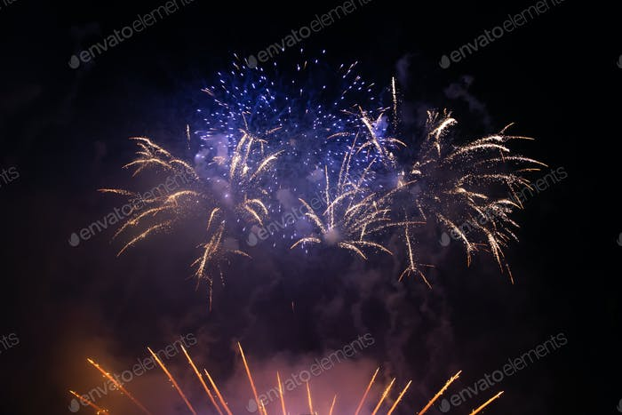 Fireworks at New Year. Abstract holiday background.