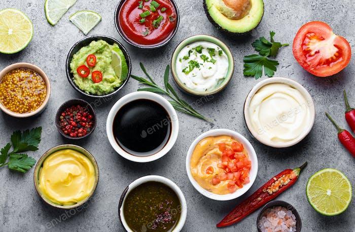Assortment of sauces