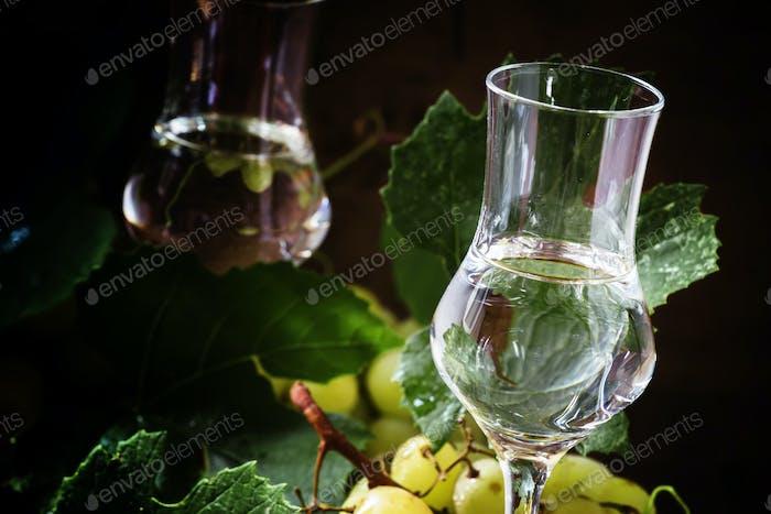 Traditional Italian vodka grappa