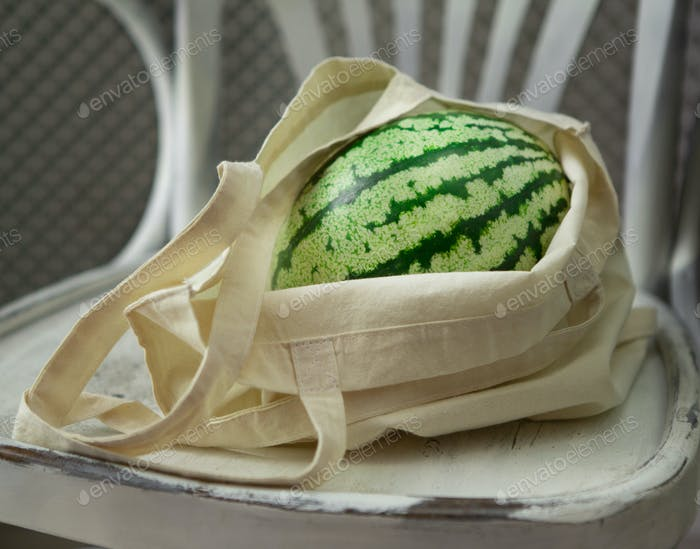 Kreative Wassermelone in umweltfreundlicher Einkaufstasche auf Stuhl