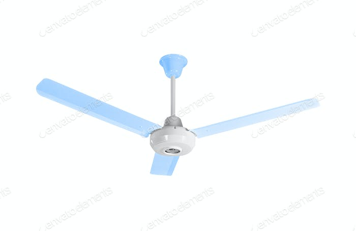 White-blue ceiling fan