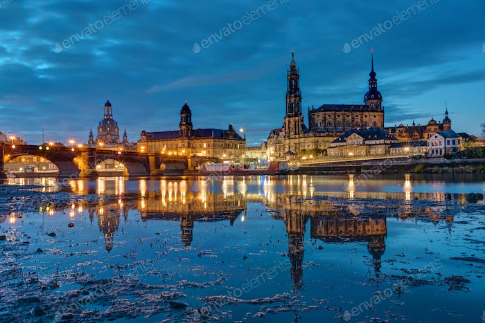 The landmarks of Dresden at night