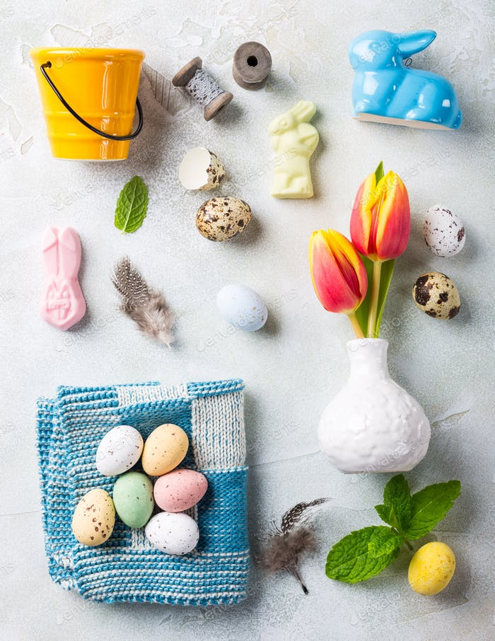Easter flat lay with orange tulips
