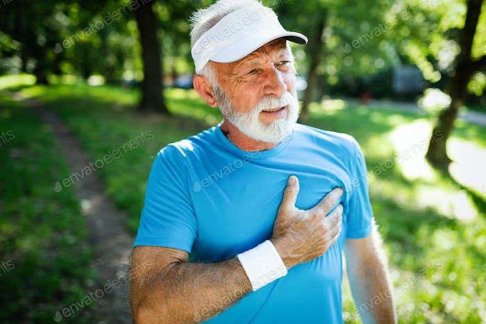 Mature man athlete have sore left chest pain dizziness
