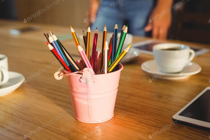 Colored pencils in a pencil holder