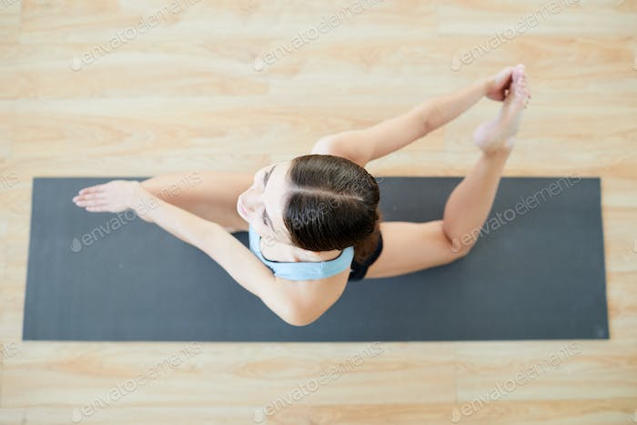 Stretching on mat