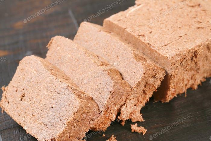 Geschnittene Schokolade Halva