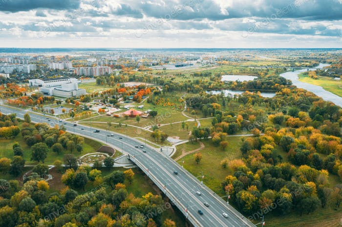 Mahiliou, Belarus. Mogilev Cityscape And Kastrychnitski District. Aerial View Of Skyline In Autumn