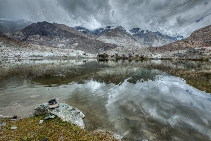 Mountain lake Lohan Tso in Himalayas
