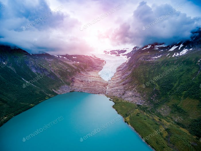 Svartisen Glacier in Norway Aerial view.