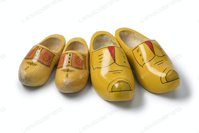 Thumbnail for Two pairs of traditional yellow Dutch wooden shoes