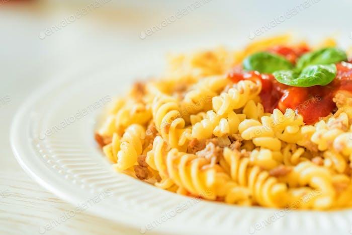 Traditional Italian pasta or fussili bolognese