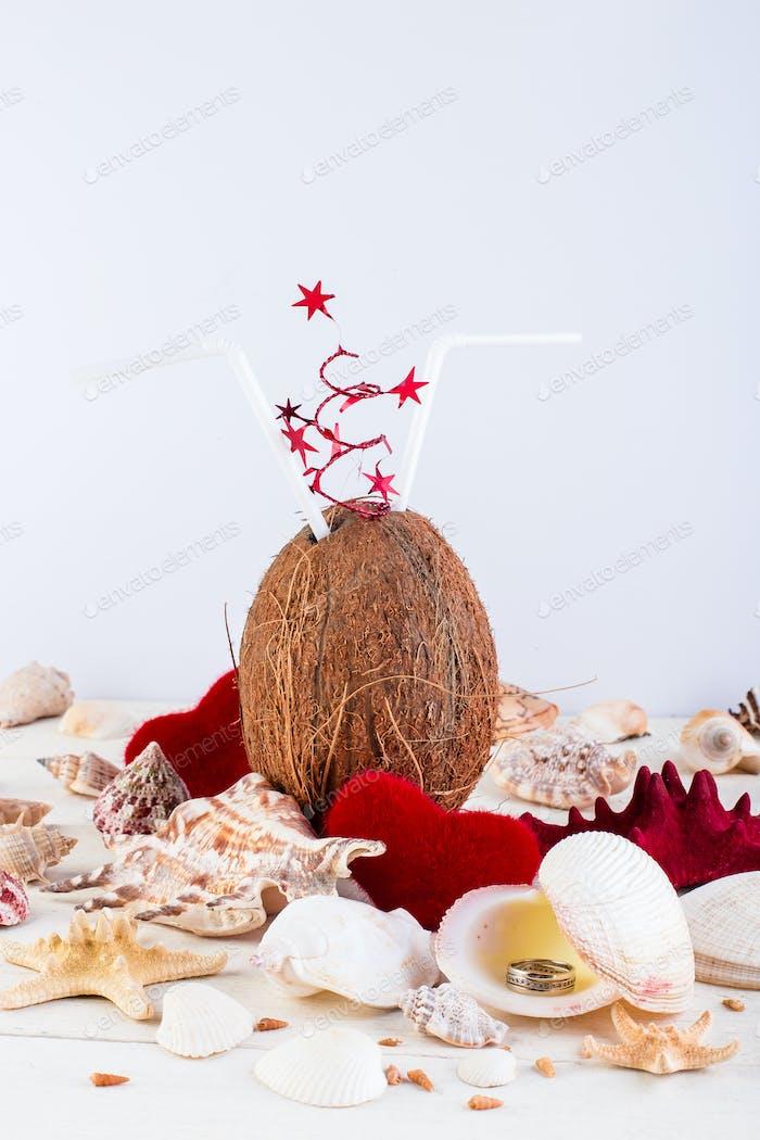 Kokoscocktail Valentinstag.