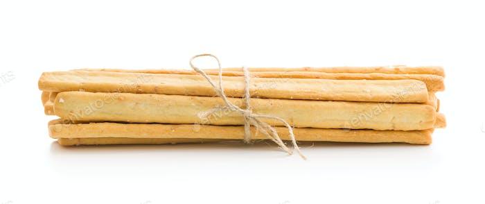 Italian grissini breadsticks. Tasty grissini snack.