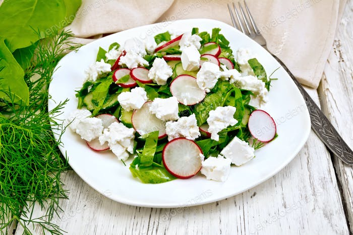 Salad with spinach and radish in plate on light board