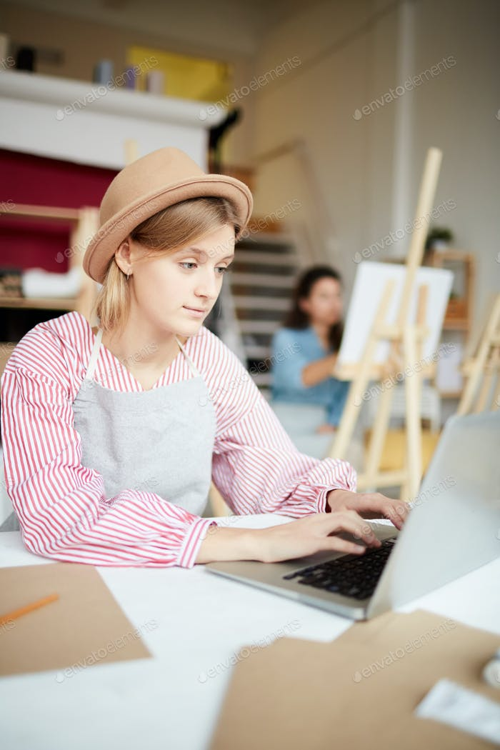Student in front of laptop