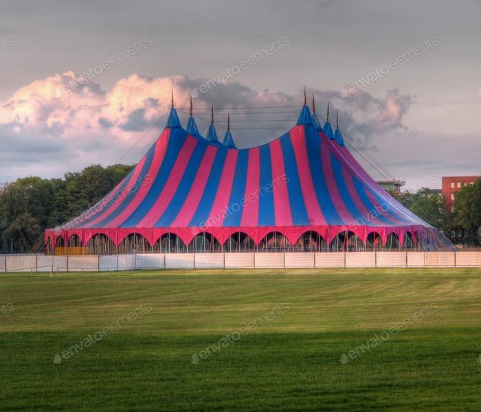 circus tent red blue green