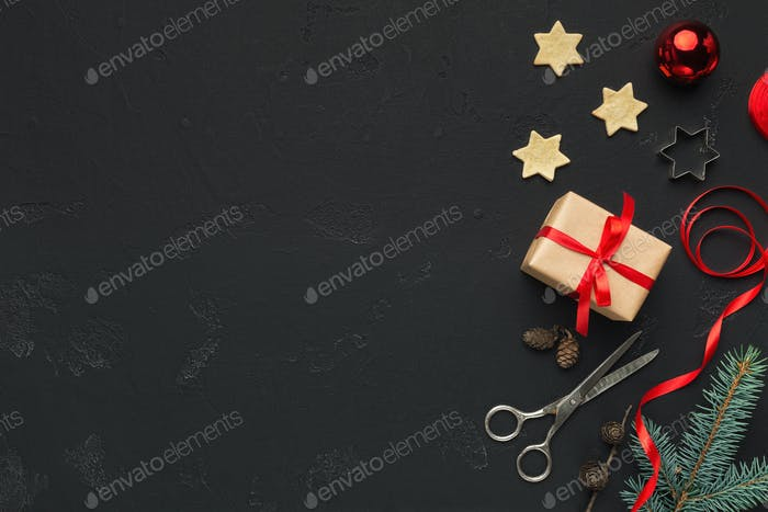 Christmas DIY background with present box and scissors