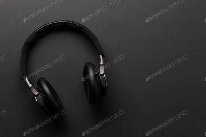 Wireless headphones on dark background