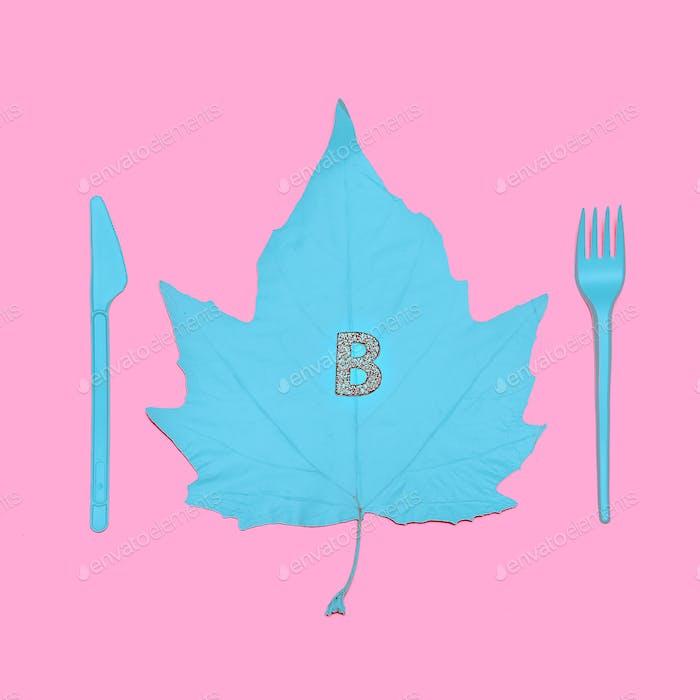 Art gallery. Autumn Leaf Blue Paint minimal