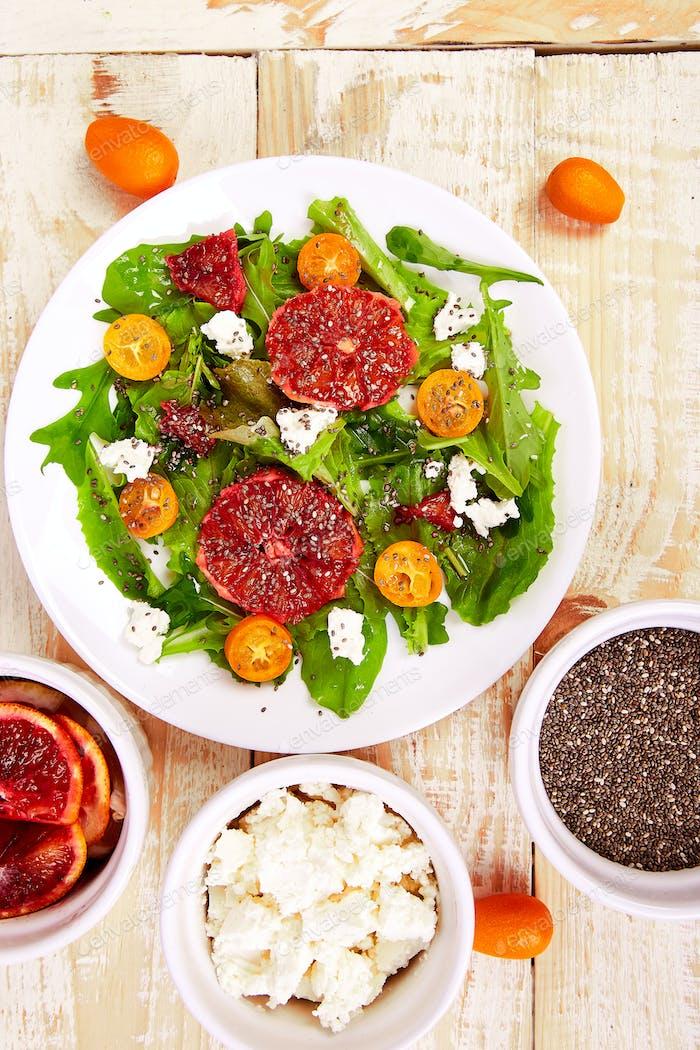 Fresh Citrus Salad  Vegan, vegetarian, clean eating, dieting, food concept.