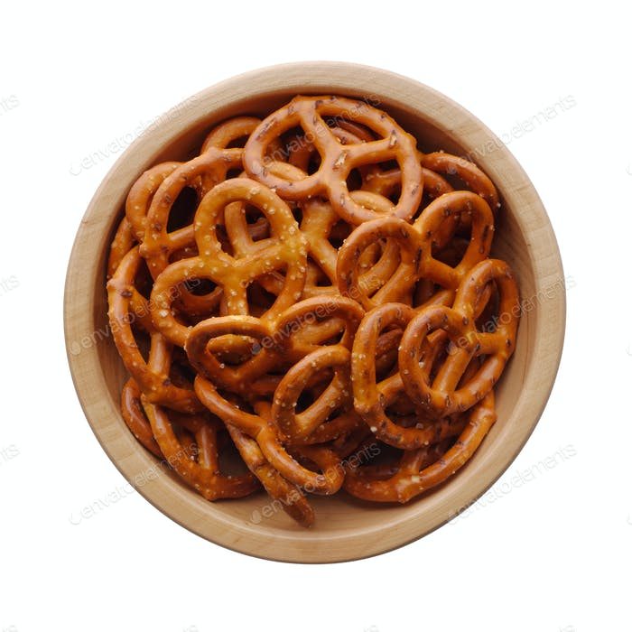 Salted pretzels in a wooden bowl