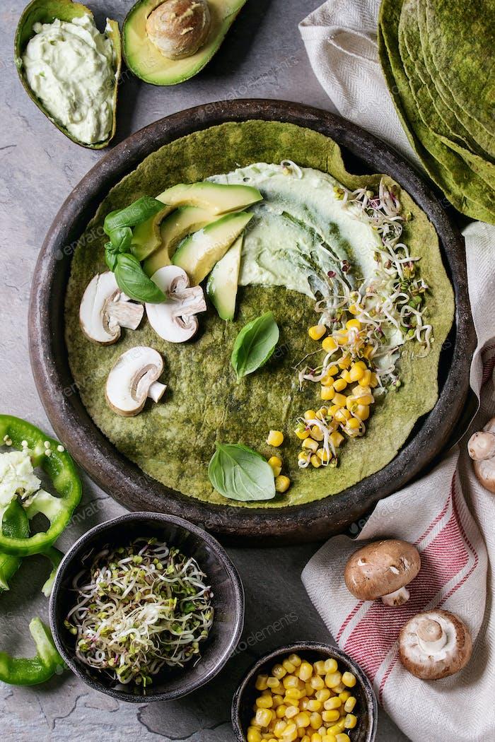 Grüner Spinat Tortilla