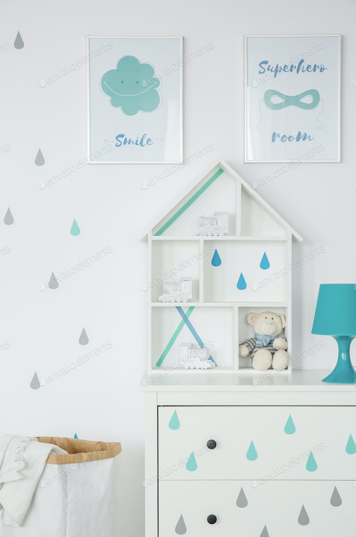 White child room with posters