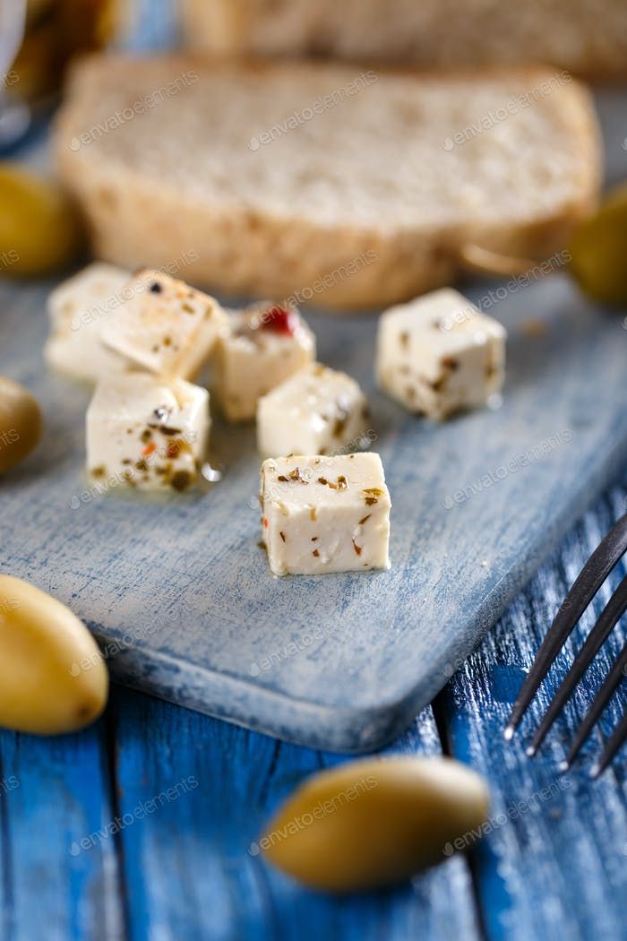 Little cubes of cheese
