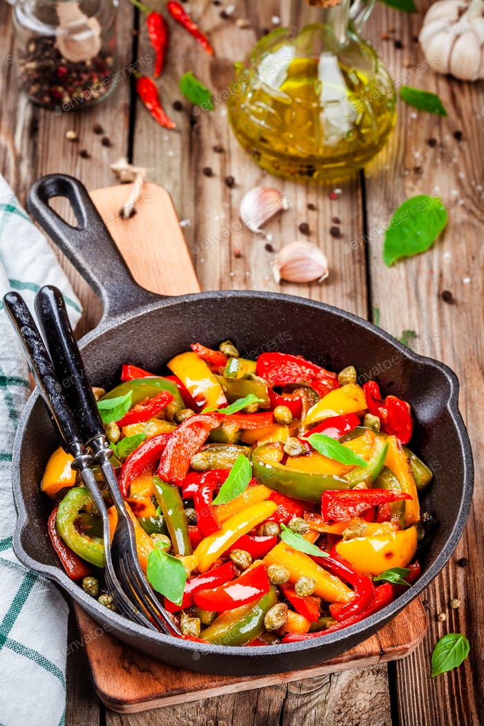 Italian cuisine, peperonata: roasted bell pepper with capers and basil