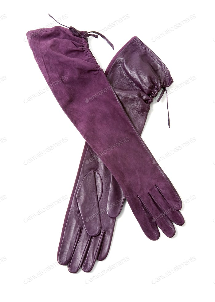 Long elegant leather and suede purple gloves