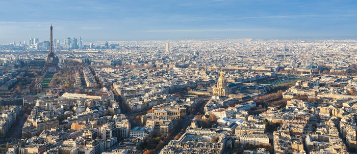 Paris skyline with Eiffel Tower and Les Invalides