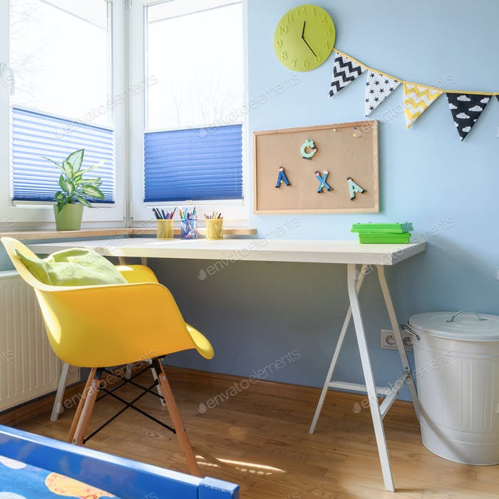 Desk in a colorful children's room
