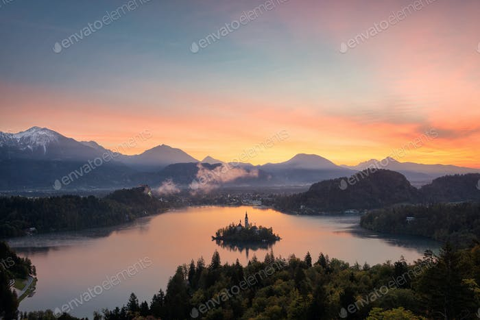 Sunrise over Lake Bled from a high viewpoint