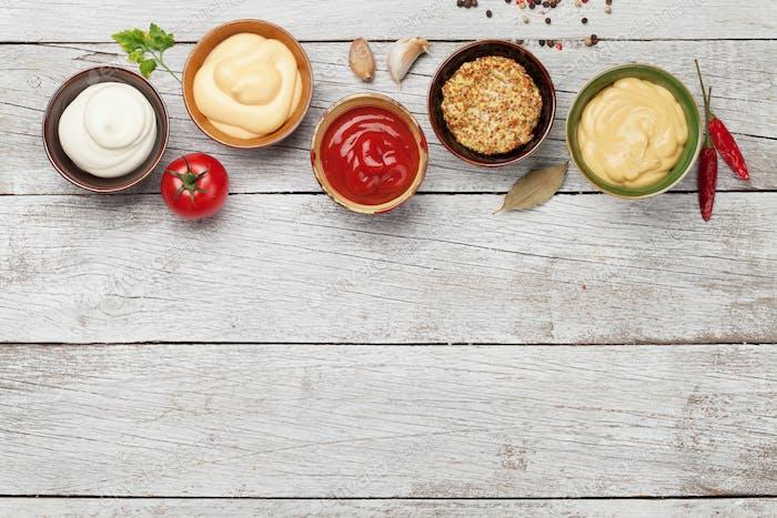 Set of various sauces. Popular sauces in bowls