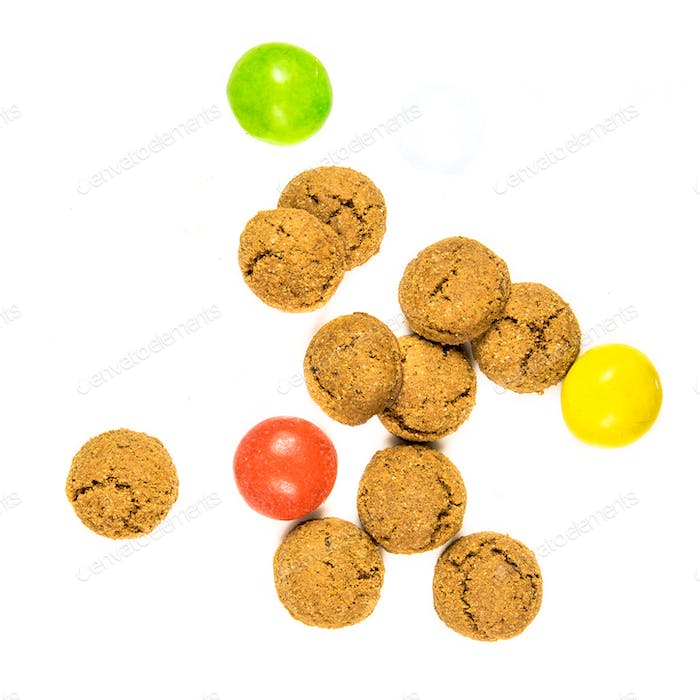 Group of pepernoten cookies and sweets