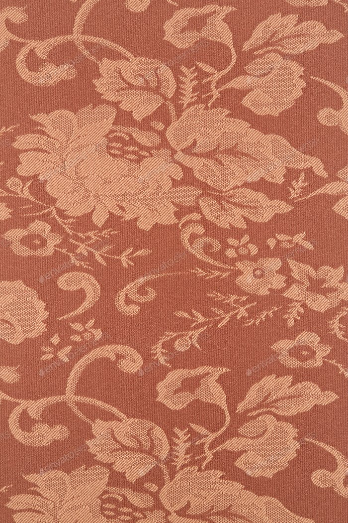 Floral brown wallpaper texture background, high detail fabric