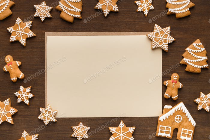 Greeting card. Christmas cookies and paper with copy space