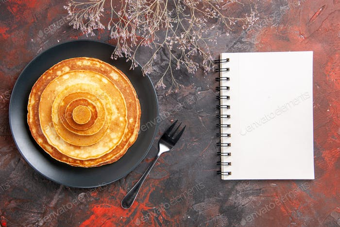Easy homemade pancakes and notebook