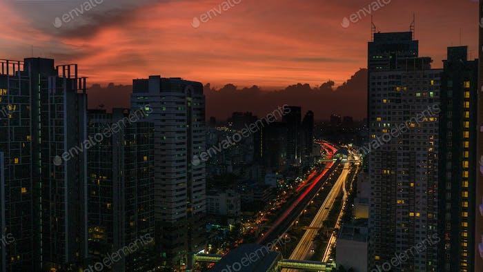 Bangkok cityscape with flame-coloured sky, Thailand
