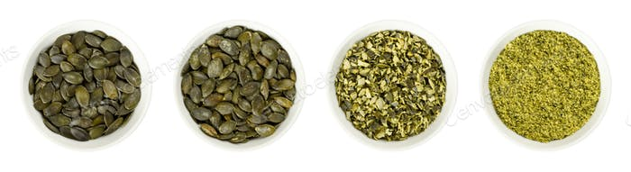 Pepita pumpkin seeds, raw, processed, in bowls over white
