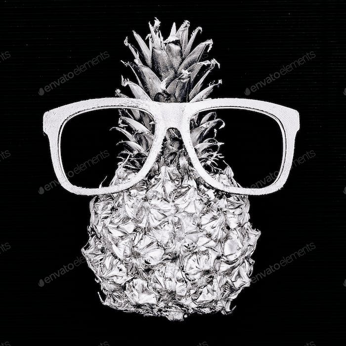 Silver fashion pineapple and glasses. Minimal style