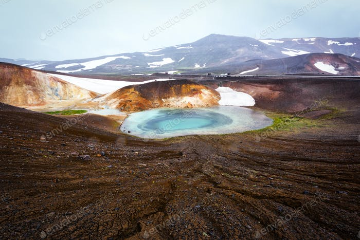 Acid hot lake in the geothermal valley