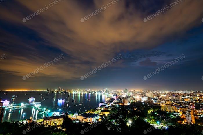 Pattaya City at night scene landmark in Thailand