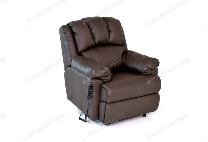 Reclining Leather Chair with Controls on White Background