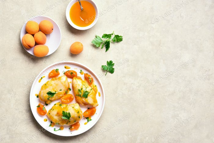 Chicken breasts in apricot sauce