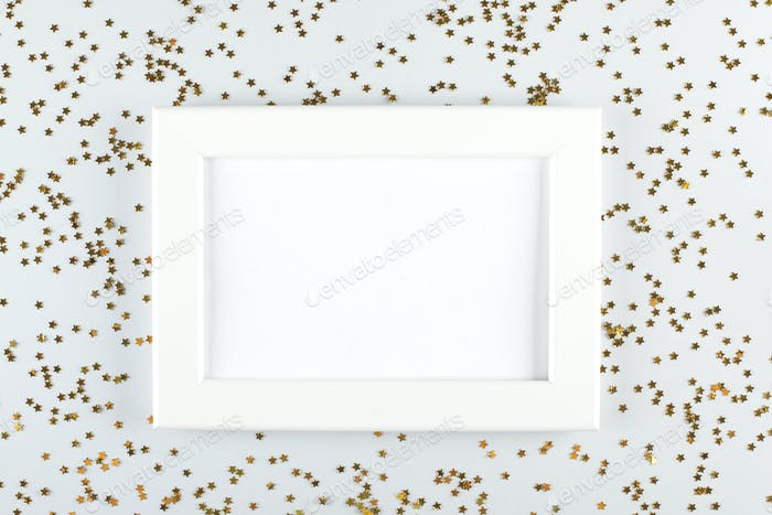 White frame on holiday christmas celebration background