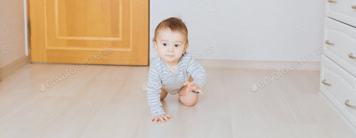 Cute crawling funny baby boy indoors at home